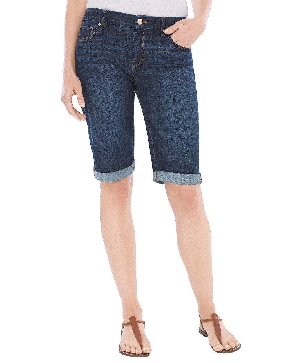 Chico's Women's So Slimming Girlfriend Shorts- 12 inch Inseam Size 12 L (2) Indigo