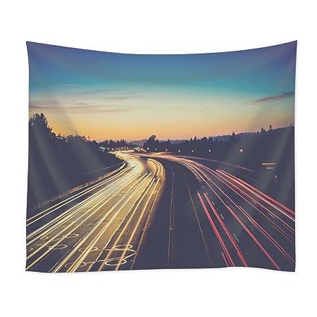 CTENRC Art Design Tapestry,Horizon Light Sky Sunrise Road Traffic