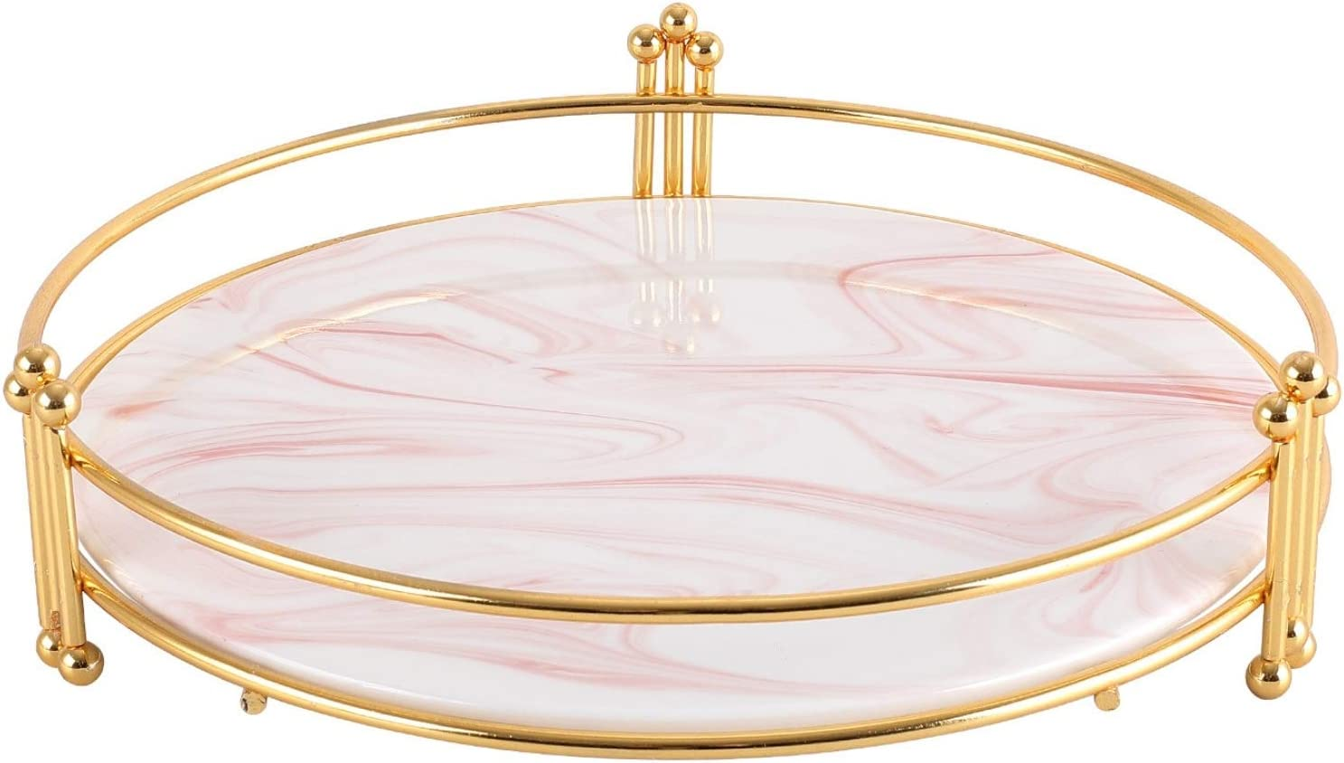 Round Marble Ceramic Decorative Tray with Gold Stand, 10.2'' Vanity Tray, Perfume Tray or Makeup Tray for Dresser, Coffee Table Decor Tray, Candle Holder Tray