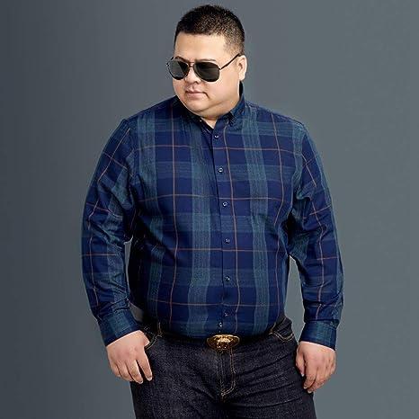 WYTX Camisas Camisa De Hombre De Manga Larga Casual Plus Gorda XL Suelta Camiseta De Otoño E Invierno Ropa De Cuadros A Cuadros para Hombres: Amazon.es: Deportes y aire libre