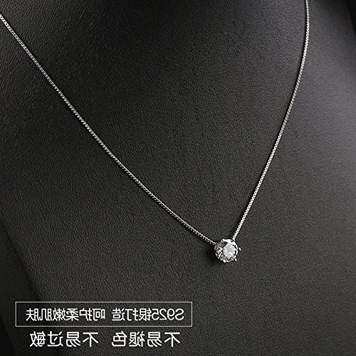 Diamond Womens Shorts - Small universe tis925 silver single diamond necklace pendant exquisite diamond women girls short paragraph clavicle chain silver fashion