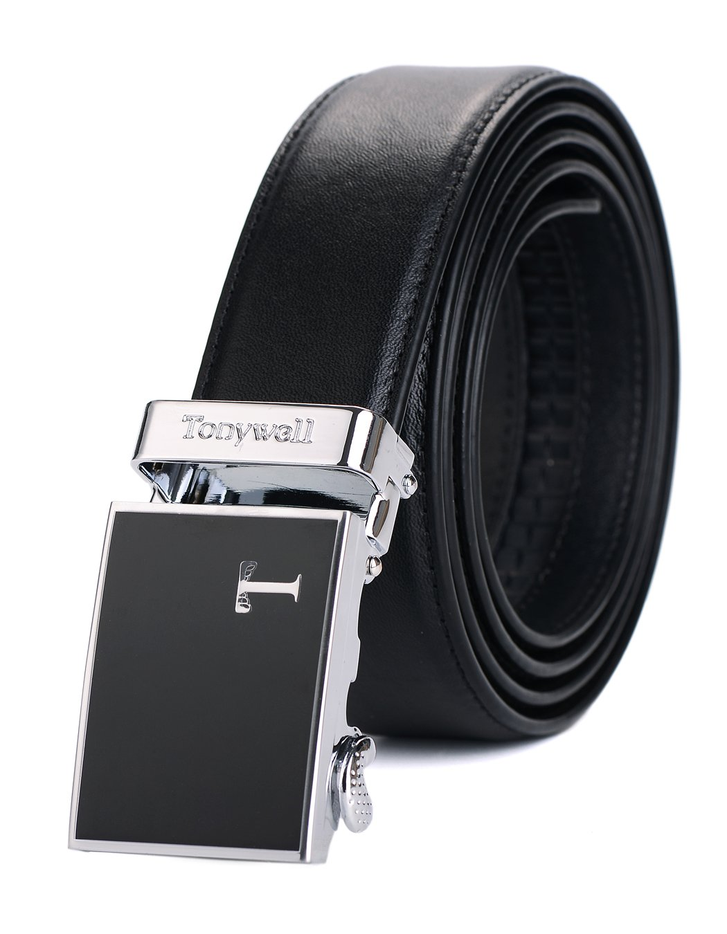 Tonywell Men's Leather Ratchet Belt Fashion Colors (One Size:32-45Waist, Red Leather& White Buckle) CSABN130