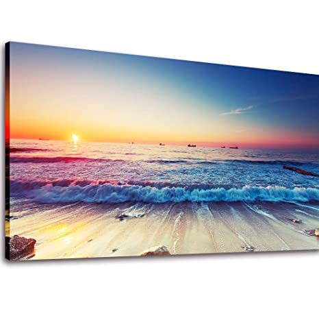 22d0a2489 Image Unavailable. Image not available for. Color: Canvas Art Wall Decor  Beach Sunset Painting ...