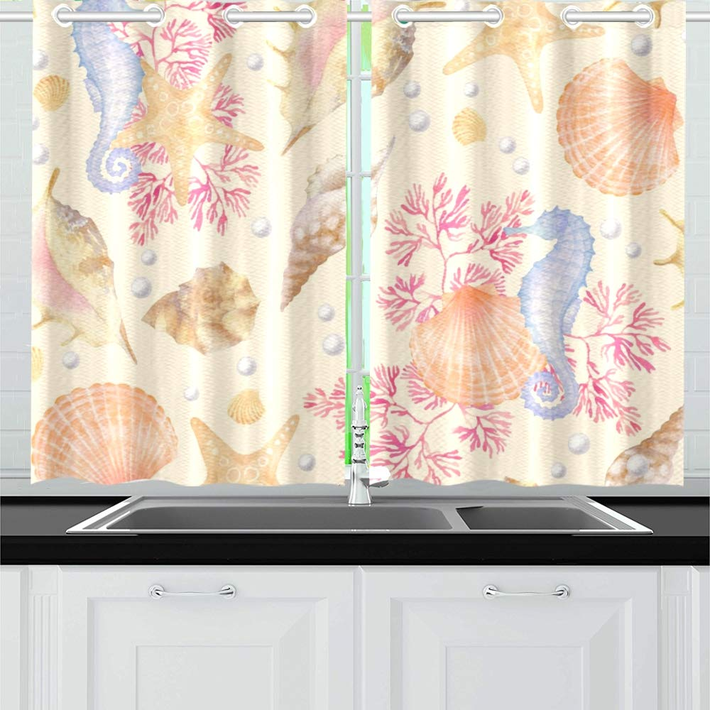 AIKENING Sea Seashells Corals Starfish Kitchen Curtains Window Curtain Tiers for Café, Bath, Laundry, Living Room Bedroom 26 X 39 Inch 2 Pieces