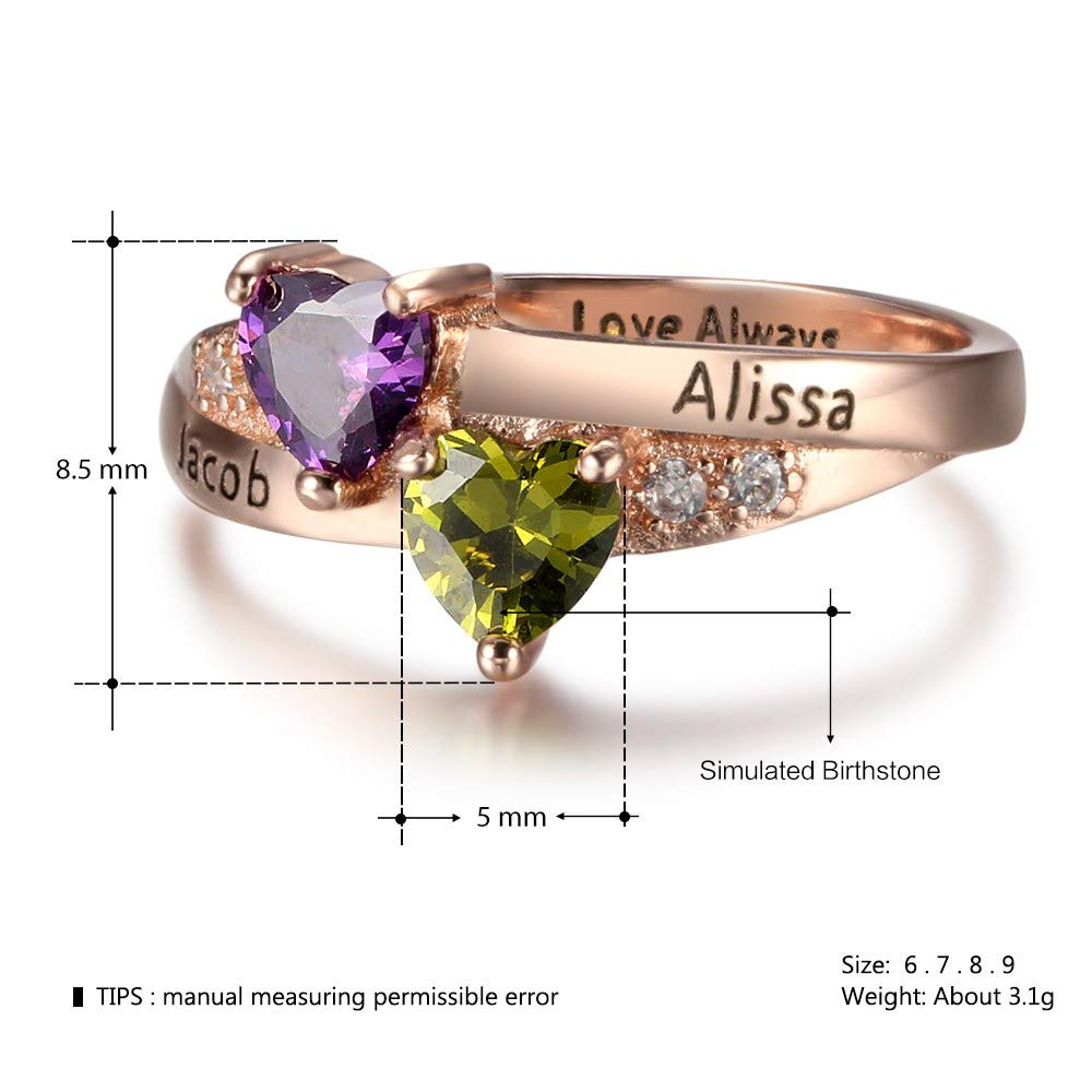 130ee55003 Personalized Name Engraved Simulated Birthstone Ring Love's Promise  Engagement Rings for Her Love Jewelry | Amazon.com