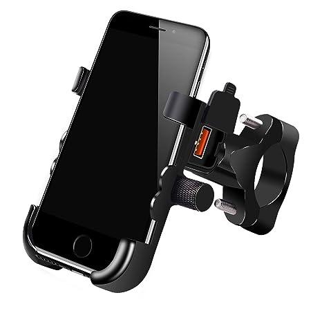 ShinePick Soporte Móvil Moto, Aluminio Soporte Universal Manillar con USB Quick Charge 3.0 para Bicicleta