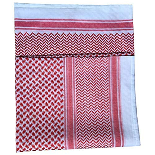 Arab Headscarf, Men's Arab Shemagh Head Scarf Islamic Print Scarf Turban Arabic Head Cover (Red)