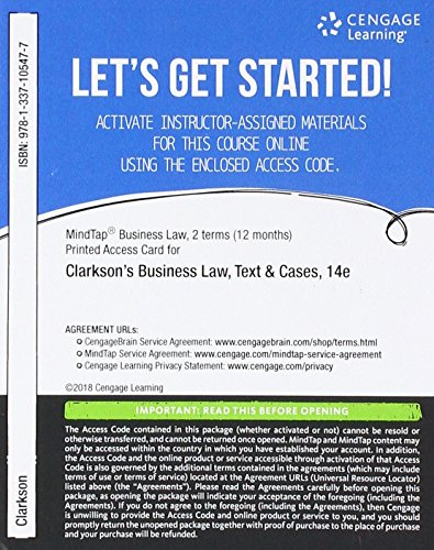 MindTap Business Law, 2 terms (12 months) Printed Access Card for Clarkson/Miller/Cross' Business Law: Text and Cases, 14th