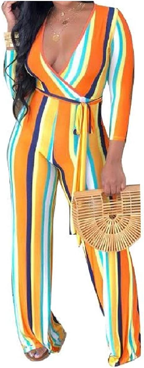 Winwinus Womens Long-Sleeve Deep V Neck Colorful Stripes Strappy Jumpsuits