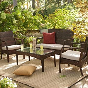 Coral Coast Parkville All-Weather Wicker Conversation Set - Seats 4 from 4 Seasons Global Inc