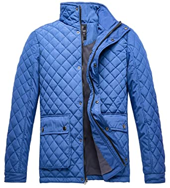 2c15fd07765a Wantdo Men s Quilted Puffer Jacket Warm Windproof Stand Collar Diamond Coat  Navy Small