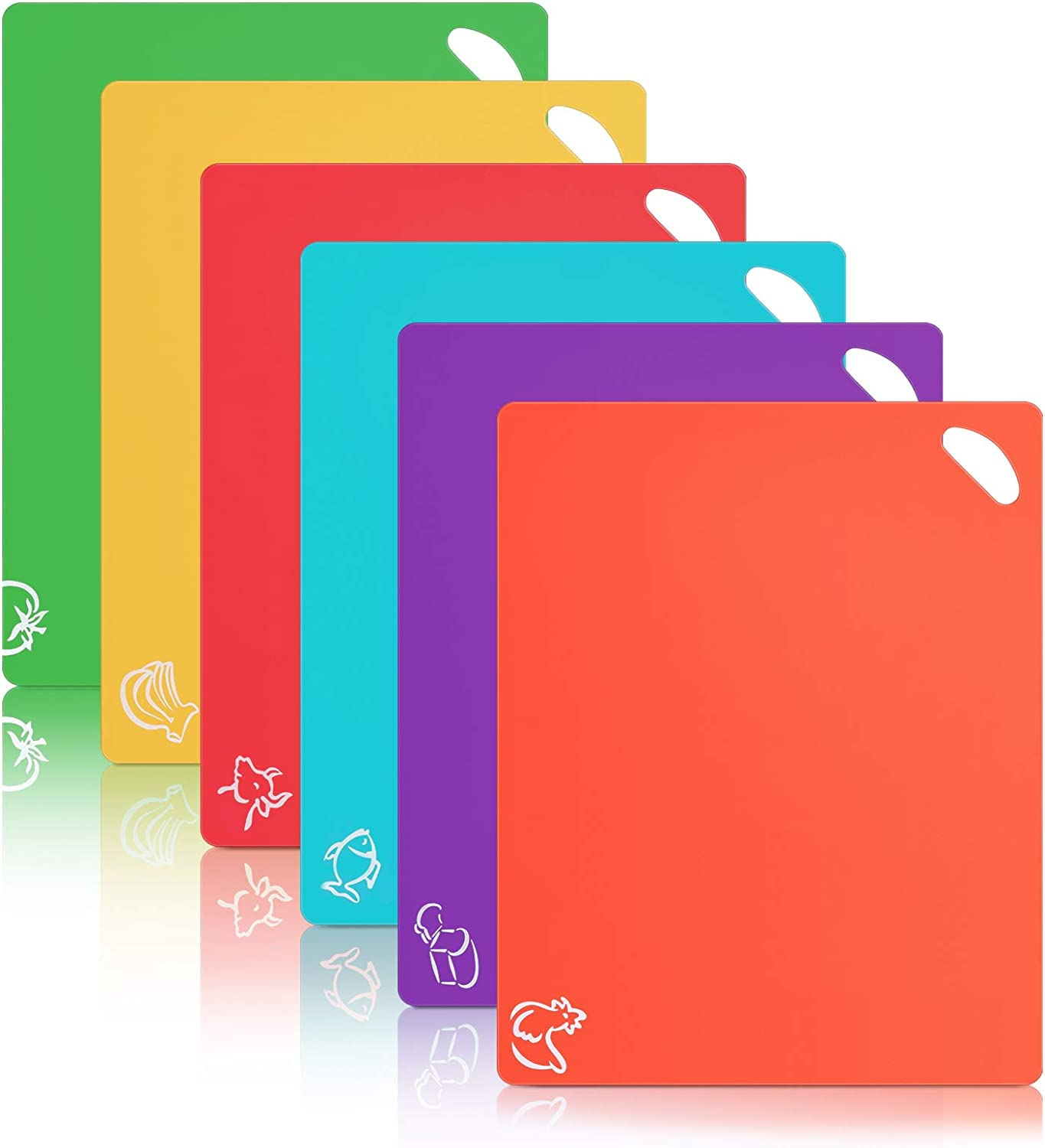 Alliebe 6 Pack Flexible Plastic Cutting Board Mats Colored Mats With Food Icons BPA-Free Non-Porous Gripped Back and Dishwasher Safe