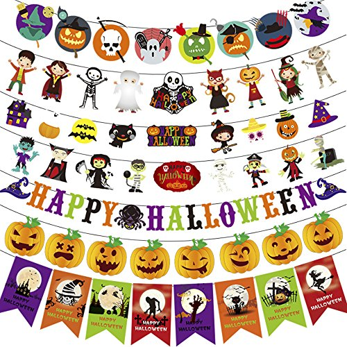 Halloween Decorations Banner Flags 7 Pieces with Pumpkin Demon Wizard Mummy Vampire Pirate Witch Skull and Bat for Halloween Party Decorations - 9.1 feet -