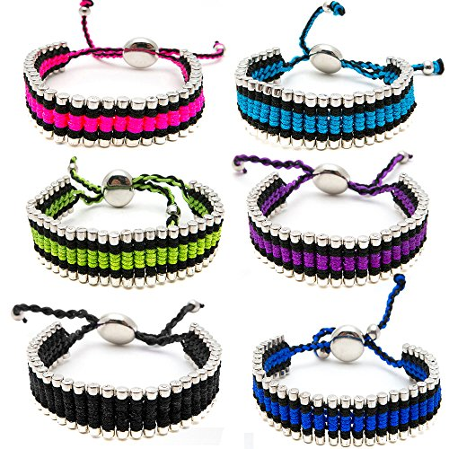 Friendship Bracelets for Women Girls Men Teens 6 PC Pack - Silver Tone Link Tube Beads Bracelet Braided with Colored Cord - Adjustable - Great Party Favors and Gifts - Quality Fashion Jewelry