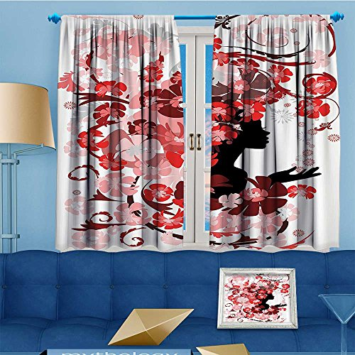 Printed Pair (2 Panels) Room Darkening Thermal Insulated Flower Girl With Hair Swirling Pink Blossoms Hair Dressers auty Feminine Top Pattern Curtains 63