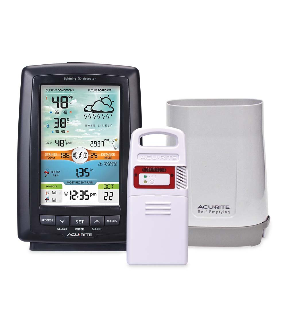Home Weather Station with Rain Gauge and Lightning Detection 5.5 W x 8 H x 2 D