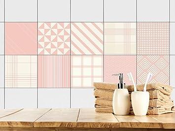 Attraktiv GRAZDesign 770366_10x10_FS10st Fliesenaufkleber Badezimmer Und Küche |  Retro  Vintage Muster | Altrosa   Beige |