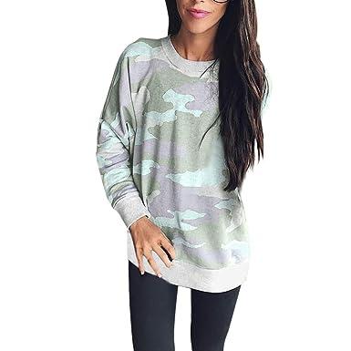 MRULIC Mode Femme Automne Hiver Exquis Chemisier Tops Les Femmes de la Mode  Camouflage décontracté Top 7319571aedc