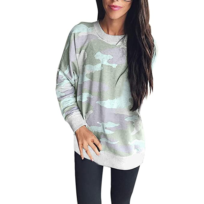 7bbbeb16e99fe SRYSHKR Fashion Women Camouflage Casual Top T Shirt Ladies Loose Long  Sleeve Top Blouse at Amazon Women s Clothing store