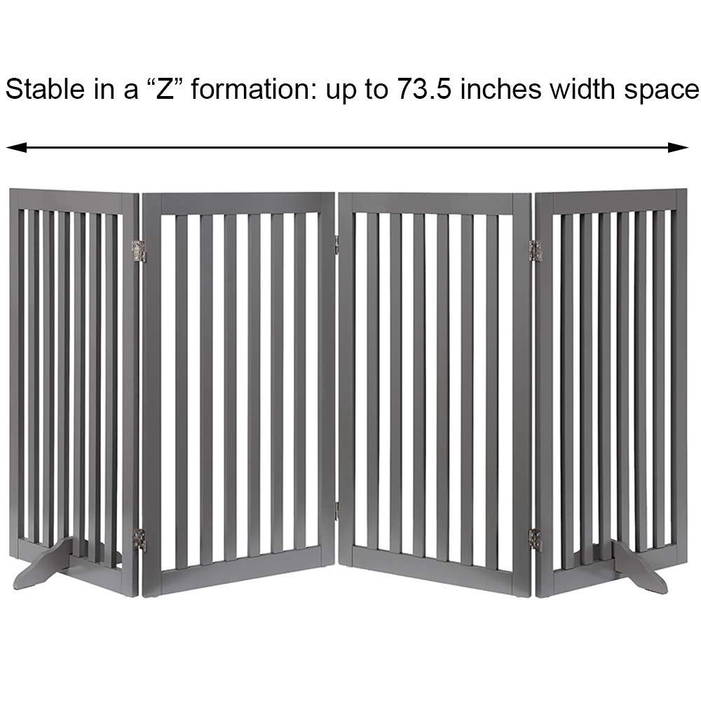 unipaws Freestanding Wooden Dog Gate, Foldable Pet Gate with 2PCS Support Feet Dog Barrier Indoor Pet Gate Panels for Stairs, Gray (20'' Wx36 H, 4 Panels) by unipaws (Image #6)
