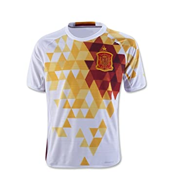 2d06b2e9d 2016 2017 UEFA Euro Cup Spain Away Football Soccer Jersey In Youth Kid  Children In White  Amazon.co.uk  Clothing