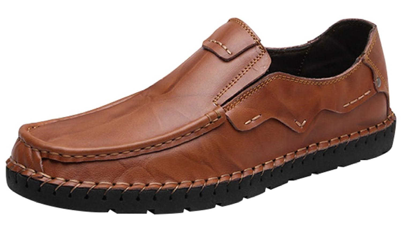 MYXUA Zapatos De Negocios Formales Para Hombres Zapatos Casuales Zapatos De Conducción Livianos Zapatos Perezosos 41EU|Brown