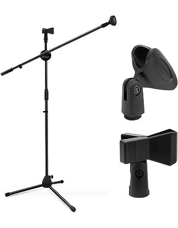 Ohuhu Trípode Boom soporte de micrófono con doble clip de micrófono, trípode plegable, soporte