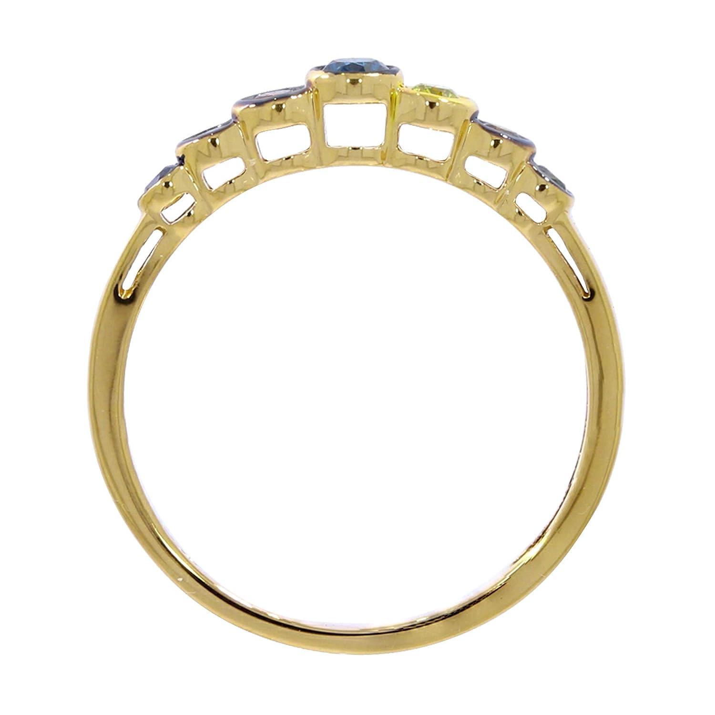 Green /& Cognac Multi Color Diamond Designer Ring Prism Jewel 0.25Ct Blue Yellow