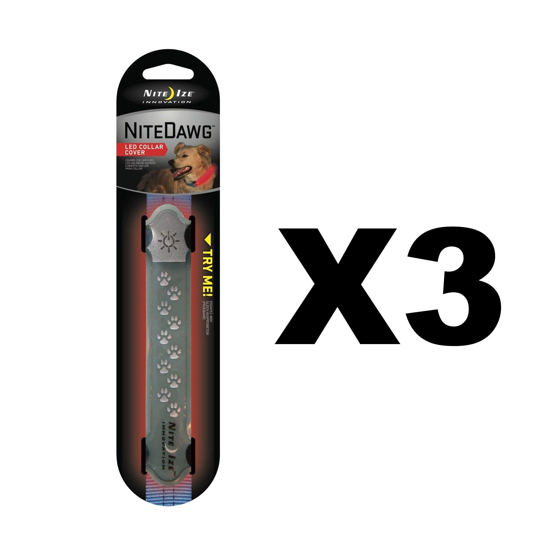 Nite Ize Nite Dawg LED Collar Cover Grey w/Red Safety Light Glow/Flash (3-Pack)