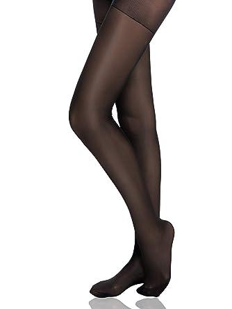 51b01bee06c HONENNA Women s Reinforced Toe Semi Sheer Opaque Tights Panty Hose (2019  Semi Opaque Black