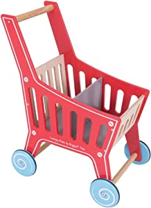 Bigjigs Toys Wooden Shopping Cart Toy - Pretend Play Shop and Role Play for Kids