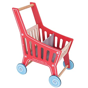 Bigjigs Toys Wooden Shopping Cart Toy Pretend Play Shop And Role Play For Kids