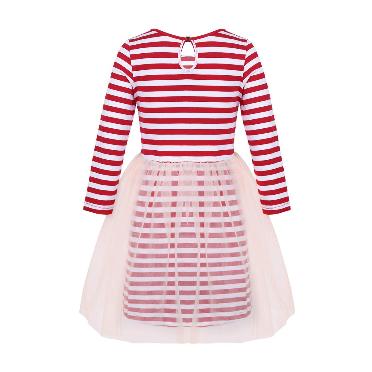 ACSUSS Infant Toddler Girls Christmas Dress Sequins Collar Stripe Long Sleeves Tutu Dress T-Shirt
