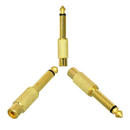 """FolioGadgets 6.35mm 1/4"""" Male to RCA Female Jack Audio Adapter Connector,"""