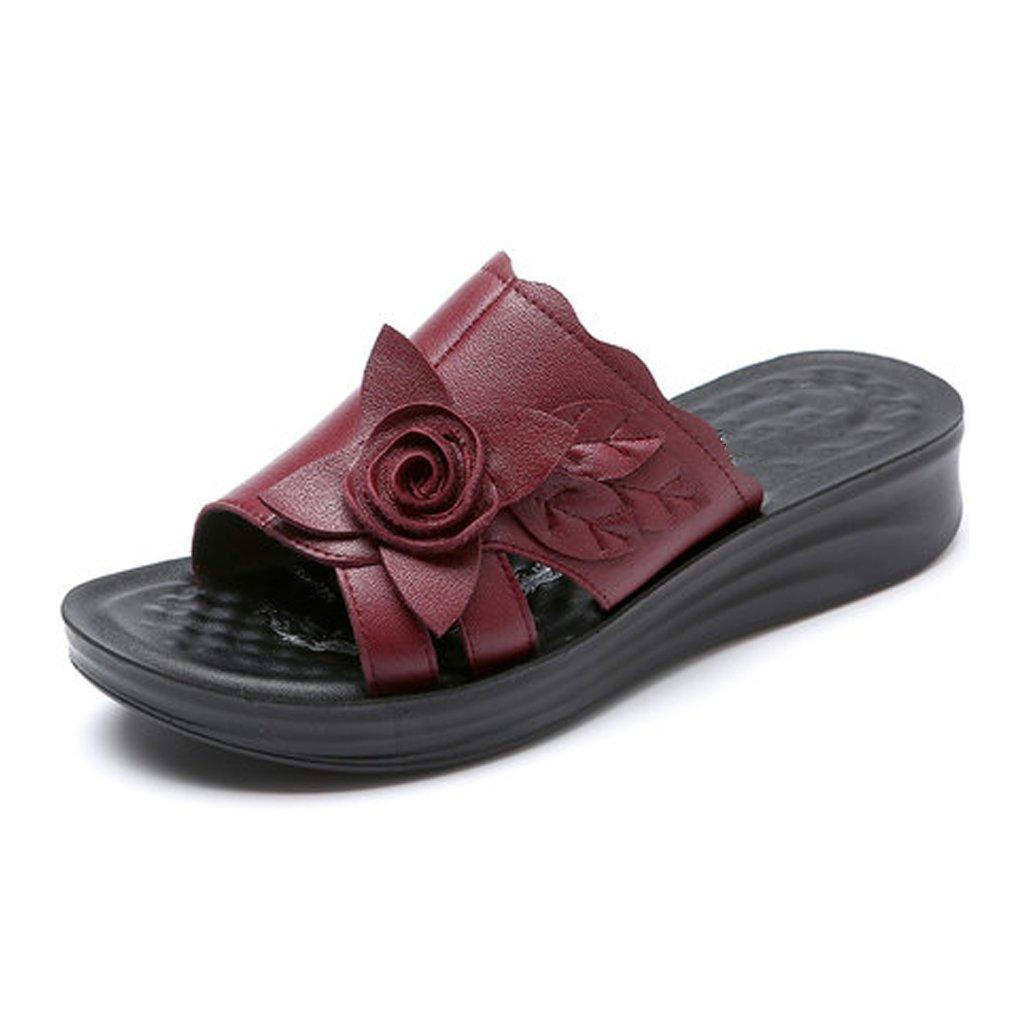 YUBIN Flip Flop Fondo Blando Desgaste por Fuera Grueso Fondo Plano Cómodo Antideslizante Sandalias De Mujer Soft Cool Cool Zapatos De Cuero (Color : B, Tamaño : 38) 38|B