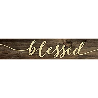 Blessed Script Design 3 x 12 Inch Solid Pine Wood Farmhouse Stick Sign