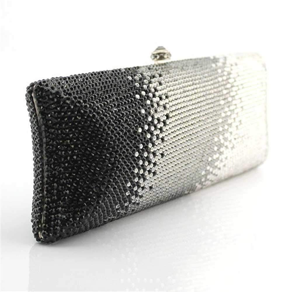 Techecho Clutch Purse Full Water Drill Bag Black and White Gray Gradient Crystal Diamond Evening Bag Female Frosted Handbag Party