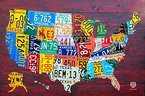 Wallmonkeys License Plate Map Usa Large Design Turnpike Peel and Stick Wall Decals WM310258  (24 in W x 16 in H) (Turnpike Map)