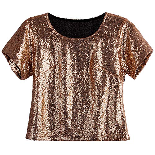 Sequin Tunic Blouse - Vijiv Women's 1920s Glitter Glam Sequin Tops Sparkly Shimmer Flapper Evening Tunic Party Bridesmaid Sequined Top Blouse Rose Gold