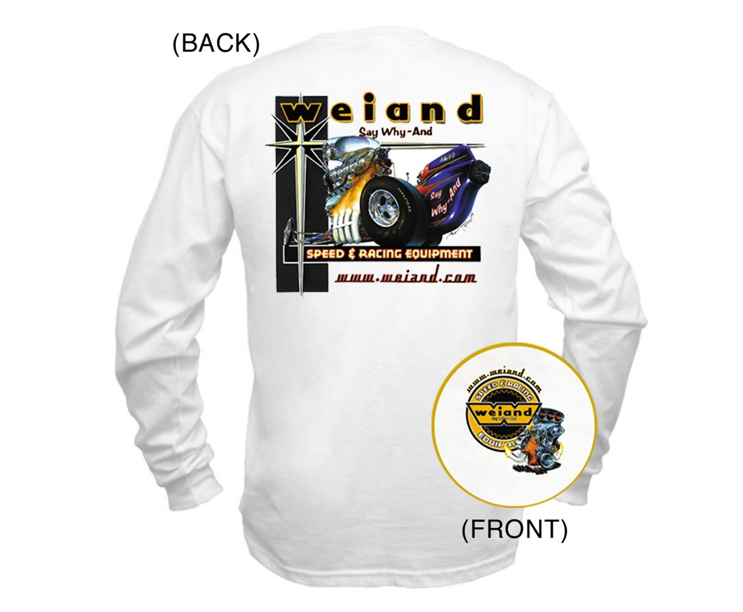Weiand 10011-SMWND White Small Long Sleeve Retro T-Shirt