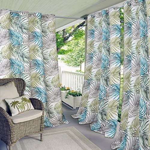 Elrene Home Fashions Indoor/Outdoor Grommet Top Single Patio Curtain Tropical Bahamas Leaf Print Window Drape