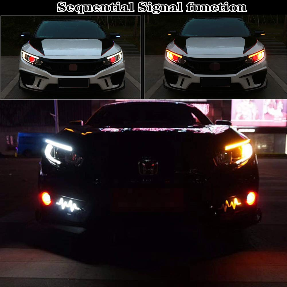 GTINTHEBOX Switchback White//Amber LED Front Headlight Eye Lid Daytime Running Lamp with Dynamic Sequential Flash Turn Signal Light for 2016-up Honda Civic Sedan//Coupe