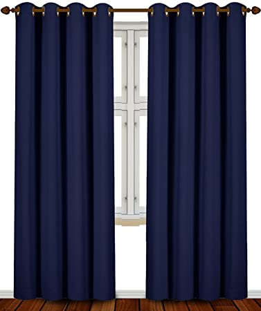 Blackout Curtains blackout curtains navy blue : Amazon.com: Blackout Room Darkening Curtains Window Panel Drapes ...