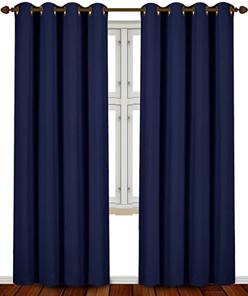 Blackout Room Darkening Curtains Window Panel Drapes   (Navy Blue Color) 2  Panel Set