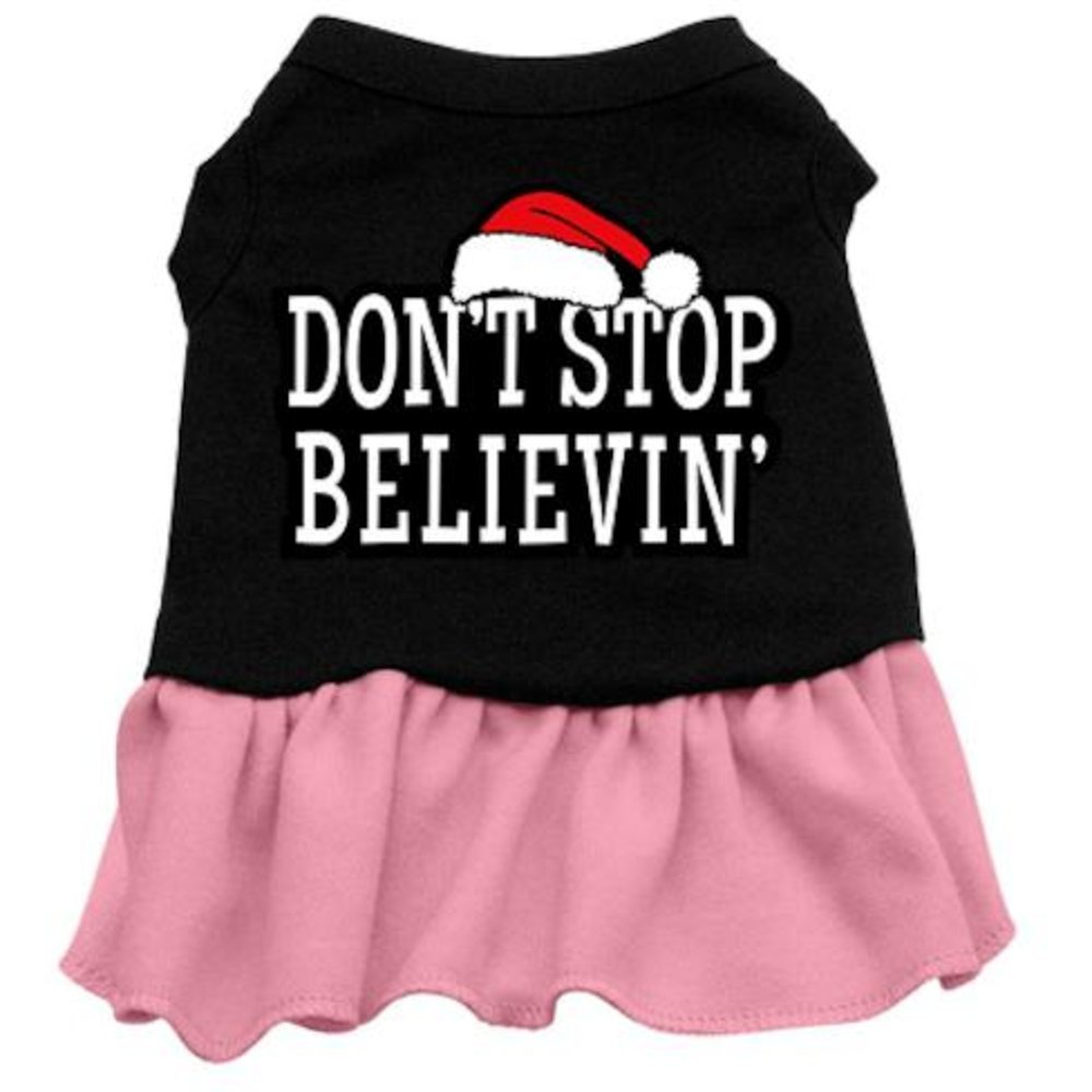 Dog   Cat   Pet Charms Don't Stop Believin' Screen Print Dress Black with Pink Med (12)