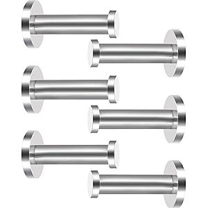 6 Pieces Stainless Steel Wall-Mount Robe Hook Coat Hook Towel Wall Hook, Brushed Nickel (3 Inch, Silver)