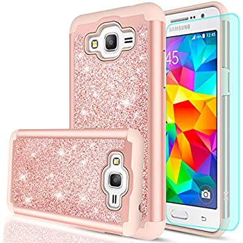 Galaxy Grand Prime Case J2 With HD Screen ProtectorLeYi Glitter Girls Women Design PC Silicone Leather Dual Layer Heavy Duty Protective Phone