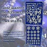 214 PCs 6 Sheets Snowflakes Window Clings PVC