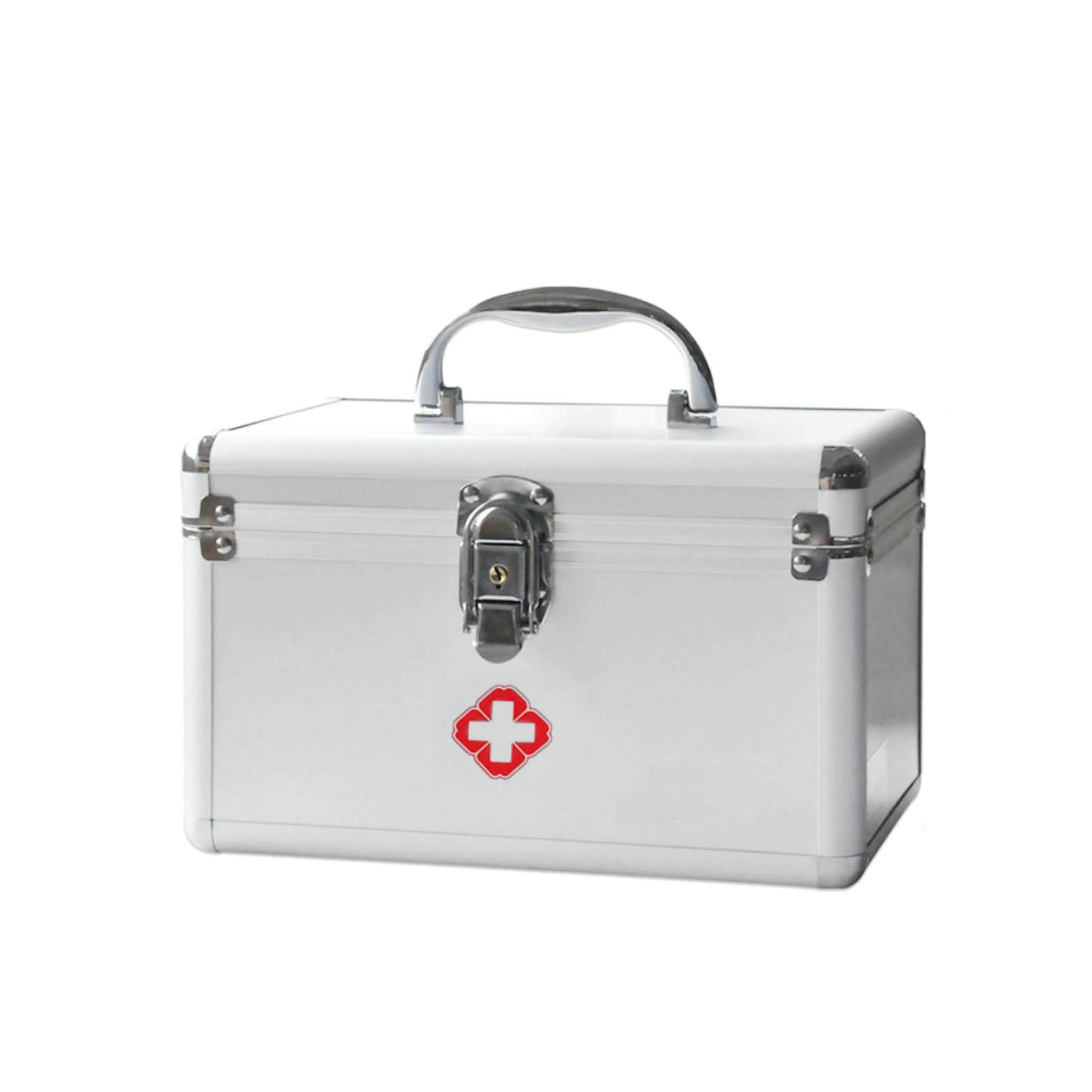 Medicine Box with Lock and Key Multi-Layer Medical First Aid Kit Drug Storage (A)