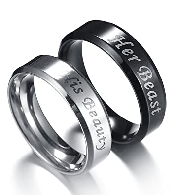6160839e02 Couples Rings Engraved Her King His Queen Matching Men Promise Ring Crown  Stainless Steel Valentine gift: Amazon.co.uk: Jewellery